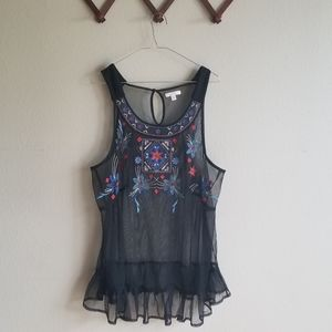 Lauren Conrad Embroidered/Mesh/lingerie/teddy